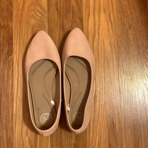 Nude Pink Pointed Flats, Womens Size 10